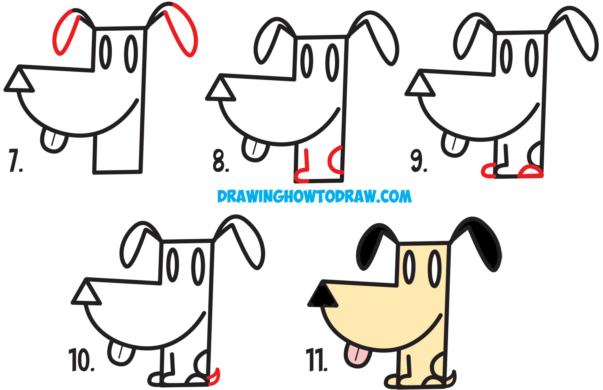 2500x1618 How To Draw A Easy Dog Step