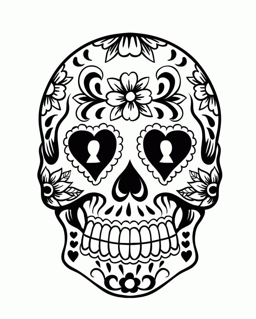 821x1024 Easy Sugar Skull Clipart