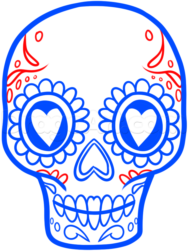 740x987 How To Draw A Sugar Skull Easy, Step