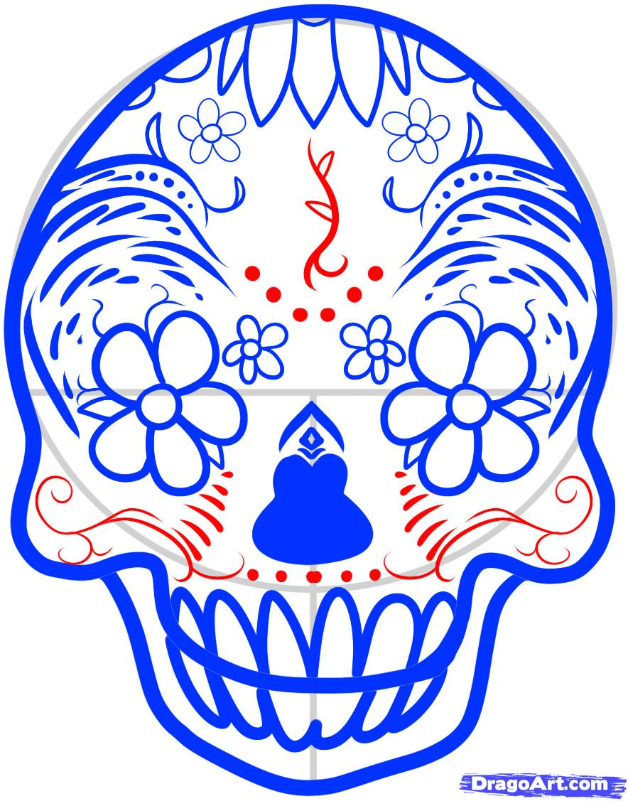 884x1127 How To Draw A Sugar Skull Step