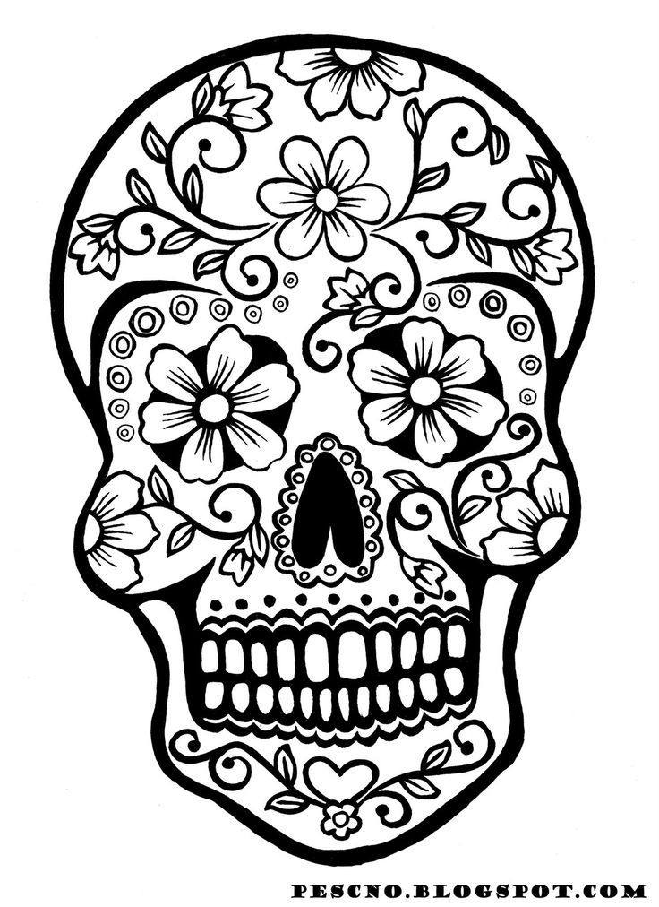 736x1012 Coloring Pages Easy Sugar Skulling Pages Printablefree Printable