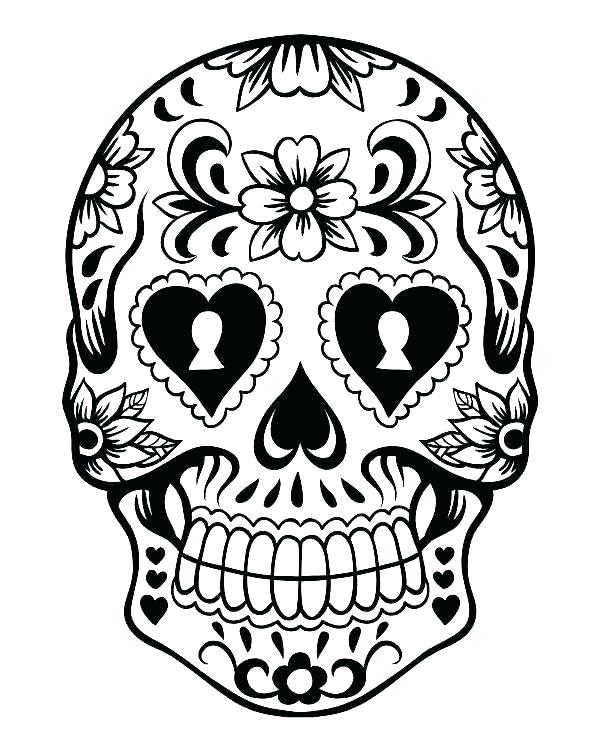 600x750 Sugar Skull Outline Sugar Skull Printable Coloring Pages Outline