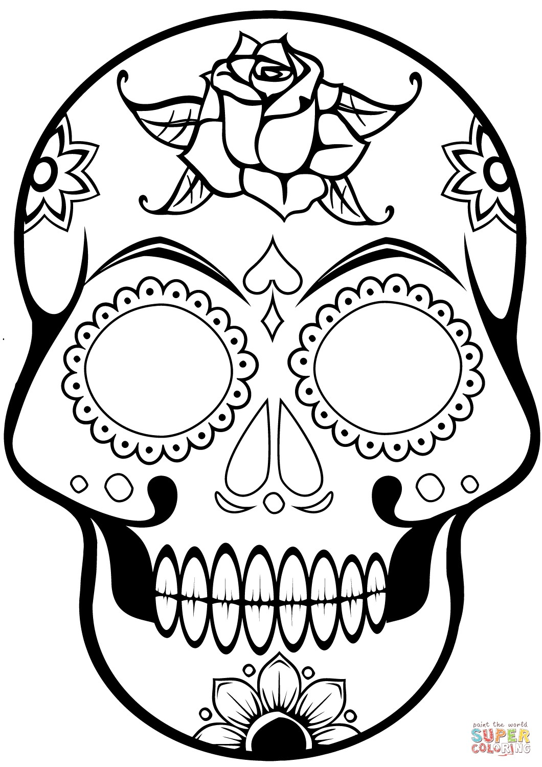 1060x1500 Day Of The Dead Skull Coloring Pages Easy Sugar With Rallytv Org