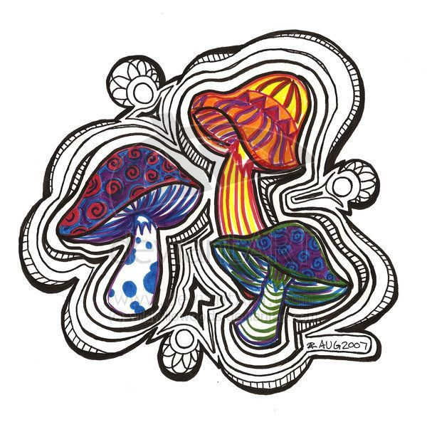 600x593 landscape drawings easy trippy mushroom pictures and ideas