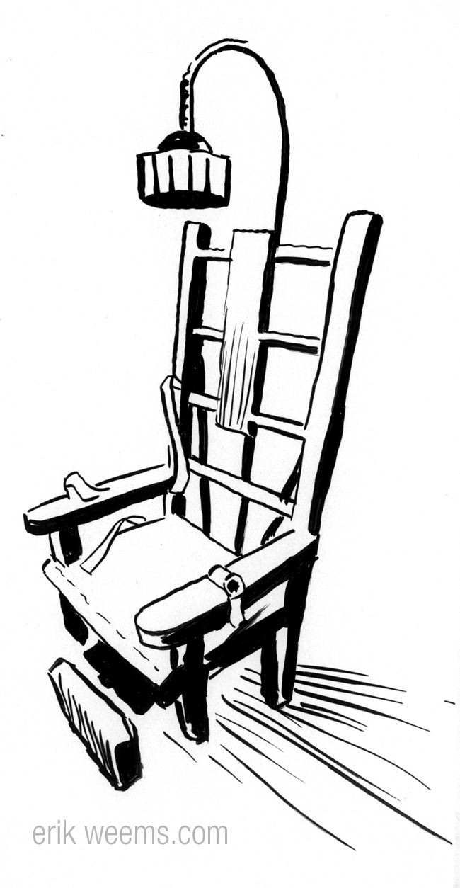 650x1254 electric chair ink drawing electric chair illo bw