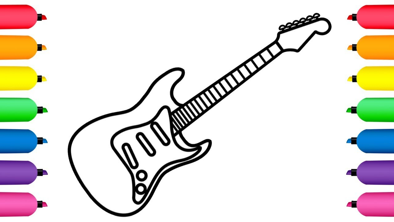 1280x720 guitar drawing for kids and how to draw electric guitar for baby