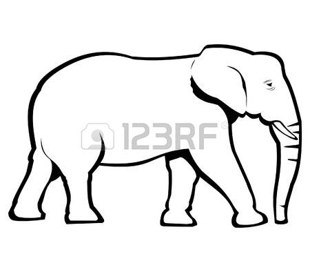 450x394 Line Drawing Of Elephant Free Download Clip Art