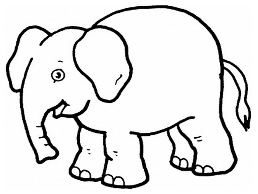 1024x768 Easy Elephant Coloring Pages With Free Elephant Drawing For Kids