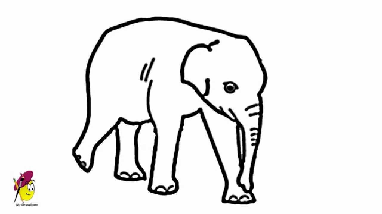 1280x720 Easy Elephant Drawing