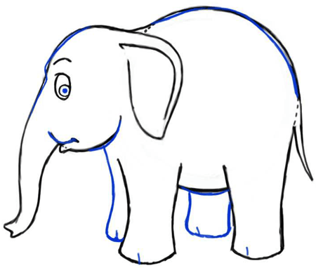 450x382 How To Draw Cartoon Elephants With Easy Steps Drawing Lesson
