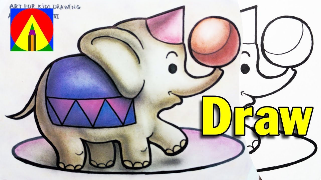 1280x720 How To Draw An Cartoon Elephant Doing The Circus Easy
