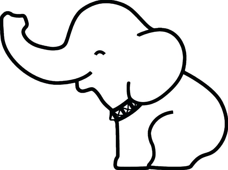 736x548 Outline Elephant Elephant Outline Trunk Up Kids Coloring Simple