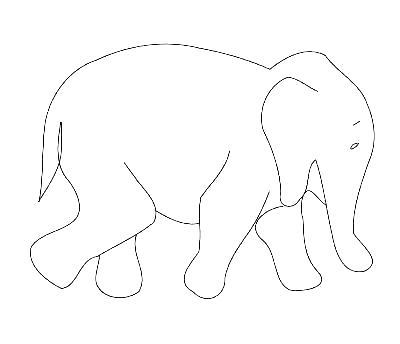 400x344 Outline Of An Elephant