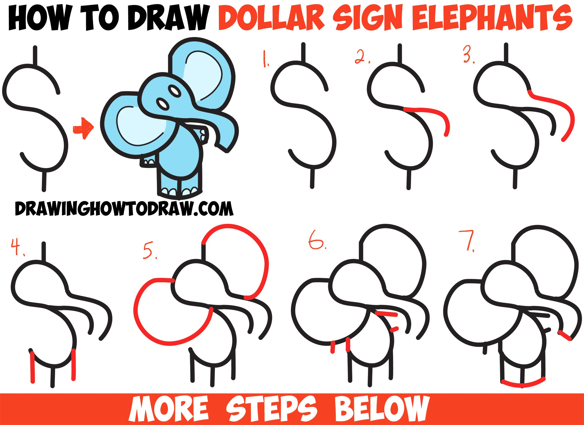 2000x1454 How To Draw Cartoon Elephants From Dollar Sign Easy Step