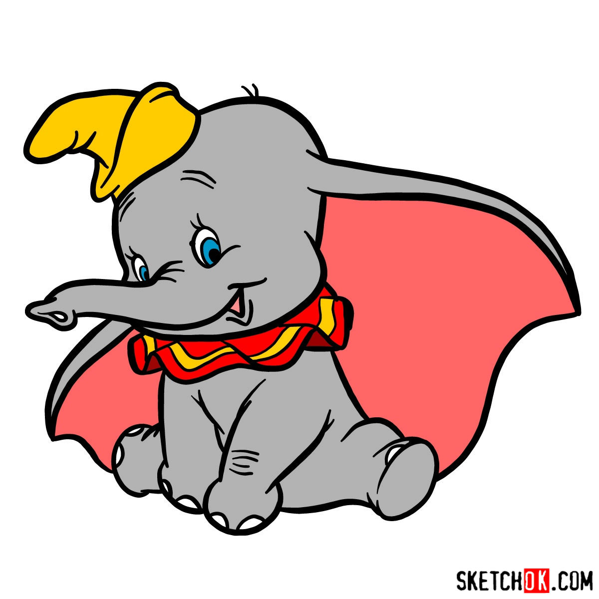 1200x1200 How To Draw Dumbo The Elephant