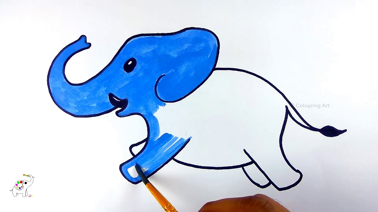 1280x720 Coloring Book Elephant Drawing Step