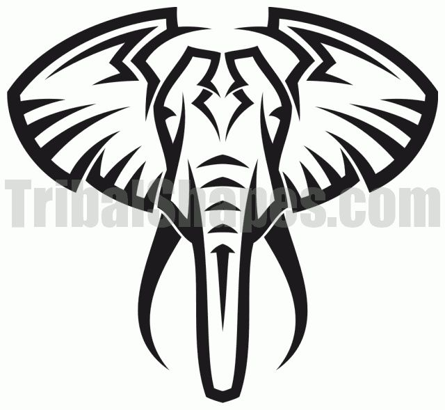 640x589 Elephant Simple Tribal Clip Art Etc Elephant Tattoos