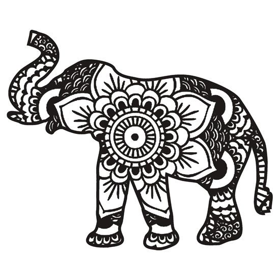 550x550 Mandala Elephant Black Sticker Stickers Mandala Elephant