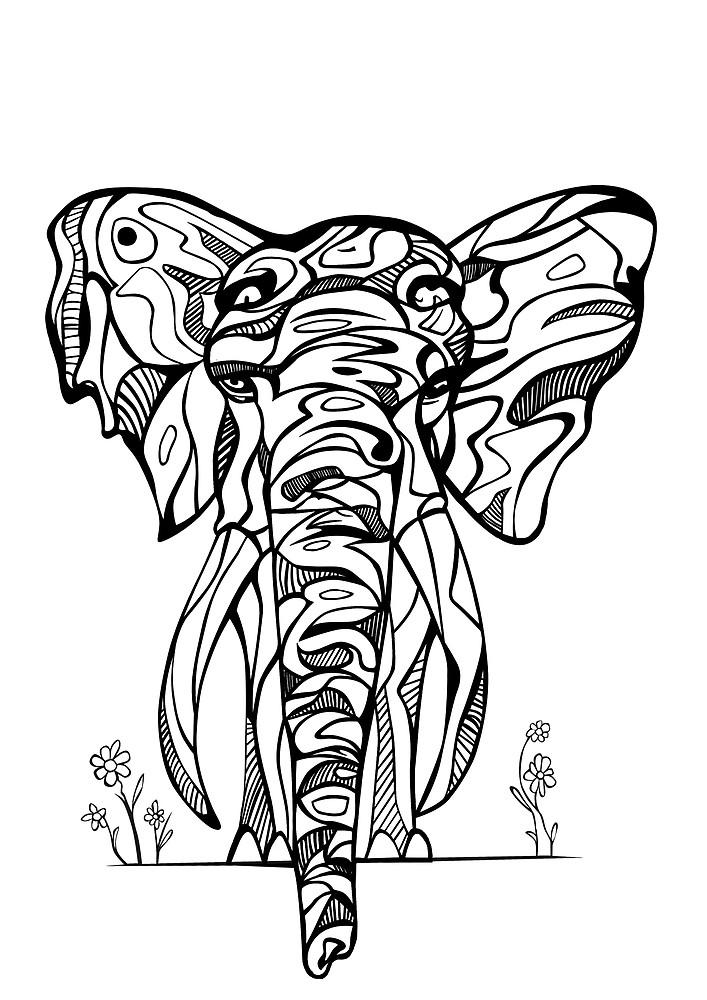 Elephant Drawing Tribal