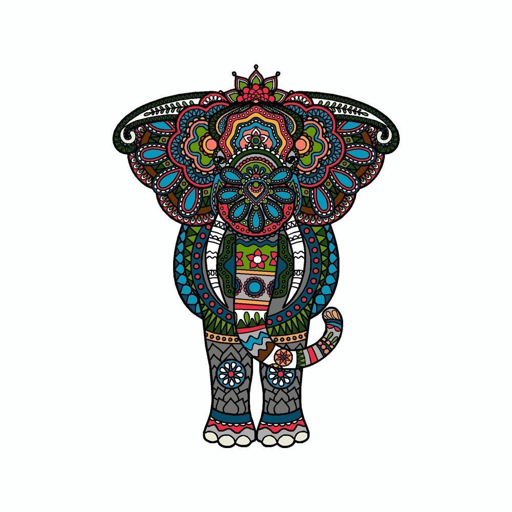 1000x1000 Elephant Mandala Art Tribal Vinyl Car Sticker Doggy Style Gifts
