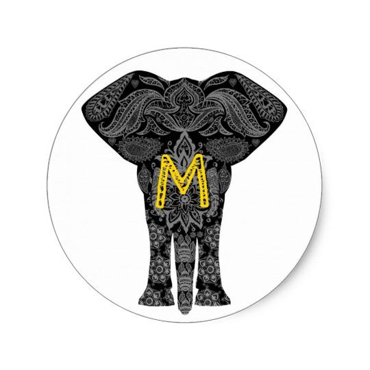 540x540 Personalised Tribal Elephant Henna Mehndi Pattern Classic Round