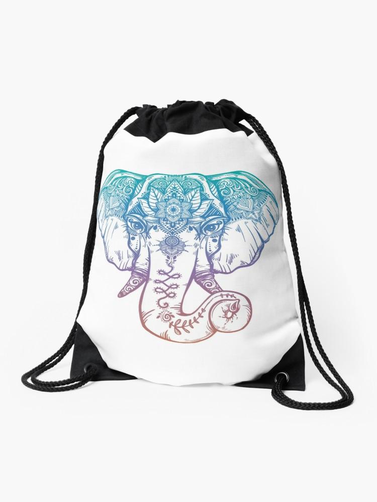 750x1000 Rainbow Elephant Tribal And Paisley Design Drawstring Bag