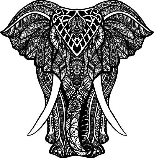 522x535 Black And White Tribal Pattern Elephant Drawing Vinyl