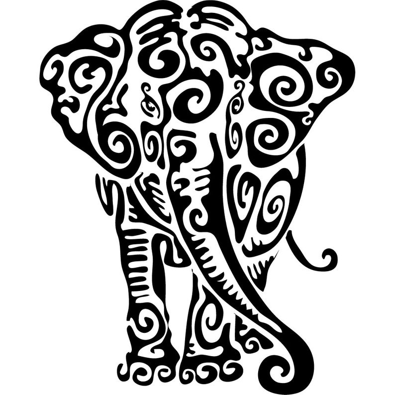 794x794 Tribal Elephant Elephant Swirls Digital Download Etsy