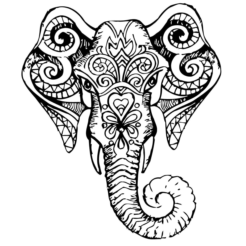 1500x1500 Wall Decals Indian Elephant Tribal Pattern Om Sign Ganesh Buddha