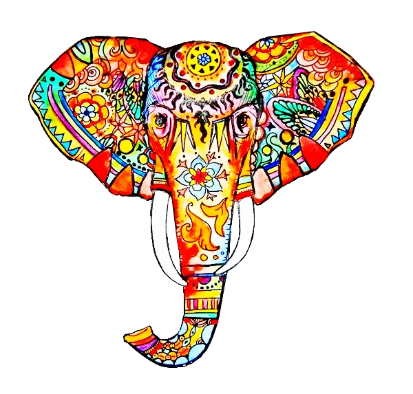 600x573 Collection Of Free Elephant Drawing Colorful Download On Ui Ex