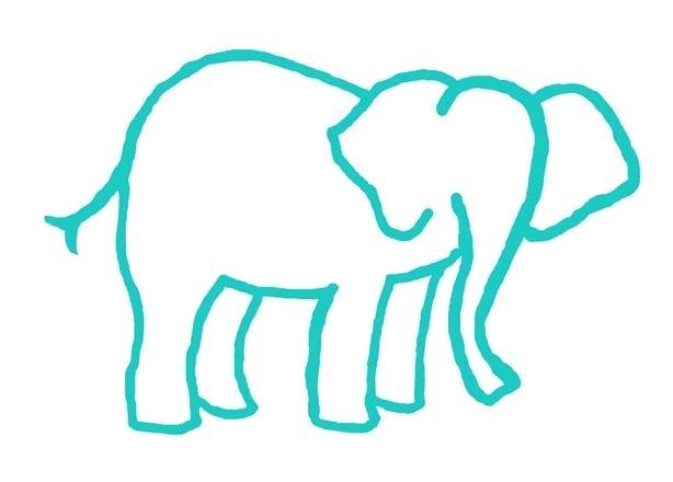 614x440 Elephant Clipart Outline Elephant Outline Trunk Up Elephant