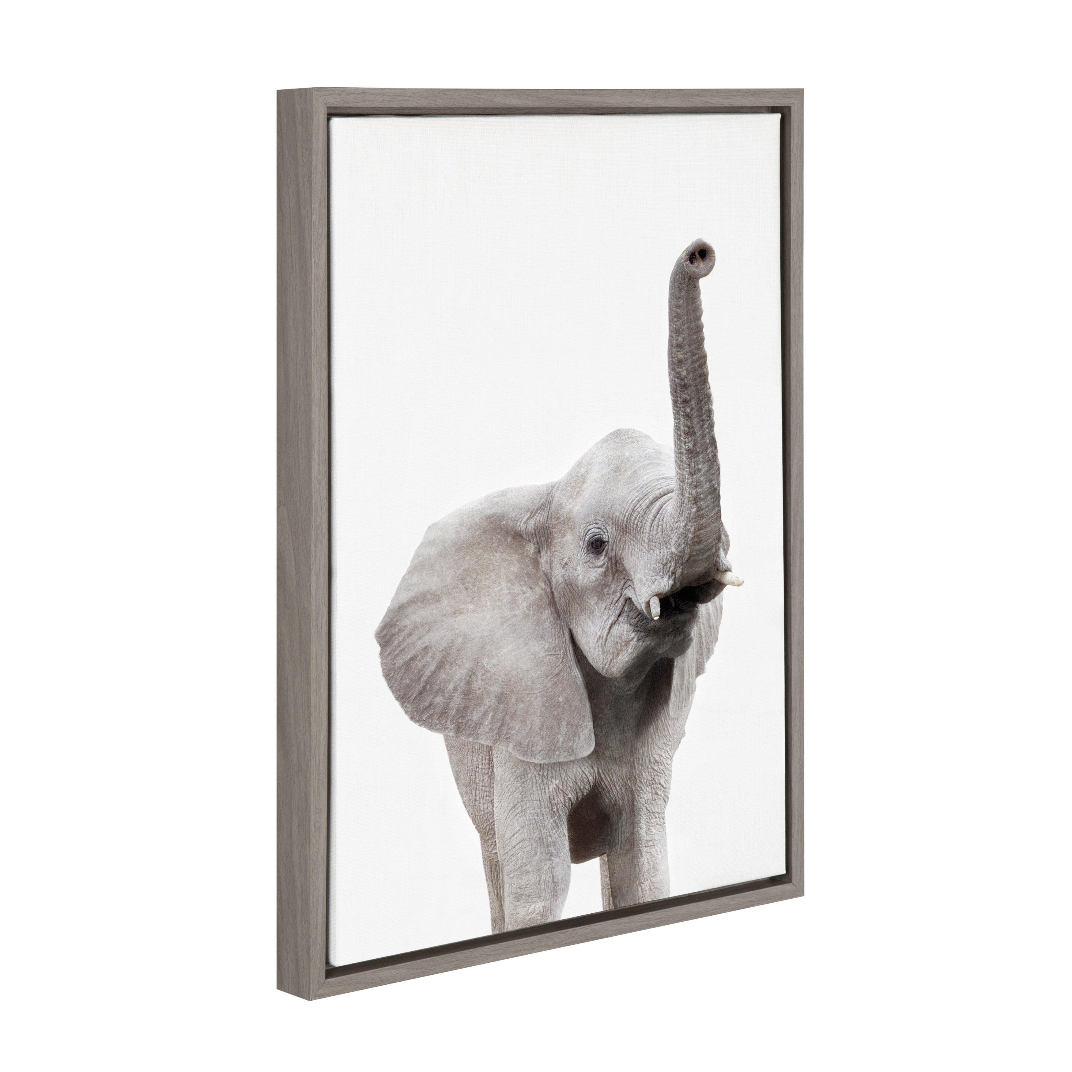 3500x3500 Shop Sylvie Elephant With Raised Trunk Animal Framed Canvas