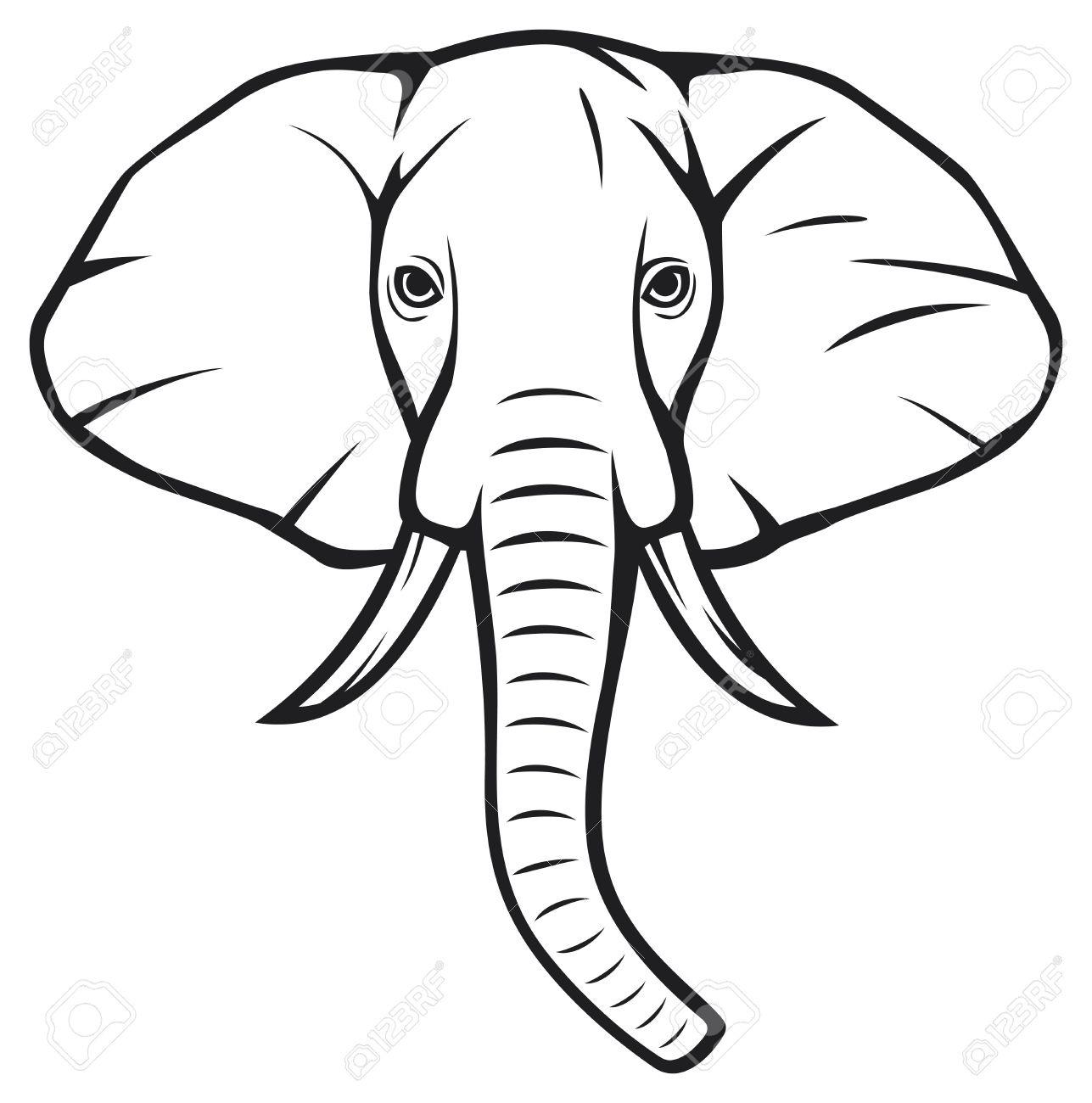 1287x1300 Elephant Head Clipart Black And White