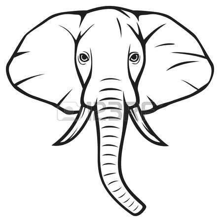 446x450 Elephant Head Outline Free Download Clip Art