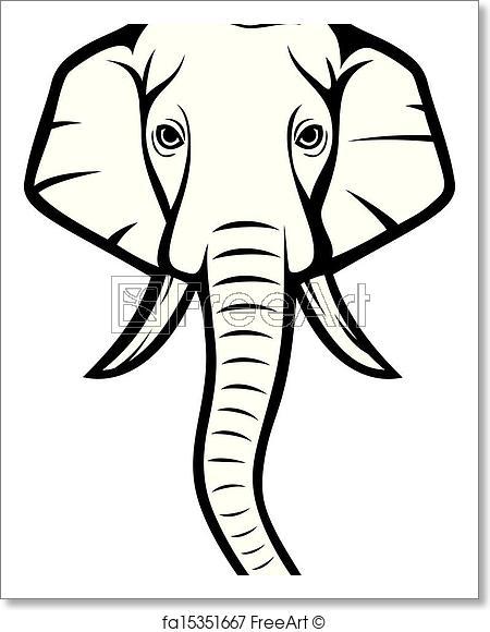450x580 Free Art Print Of Elephant Head