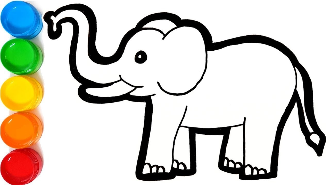 1280x720 Glitter Elephant Coloring And Drawing Wild Animals Learn Colors