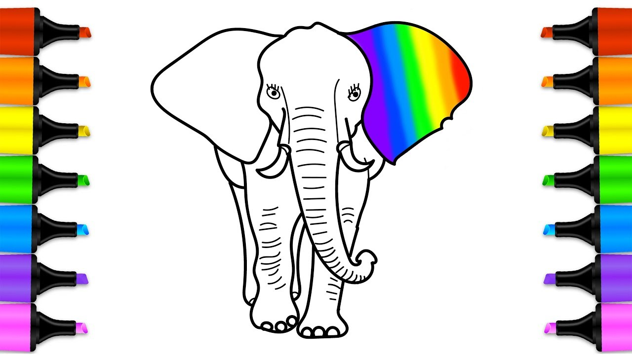 1280x720 How To Draw A Colored Elephant Wild Animals Color Pages