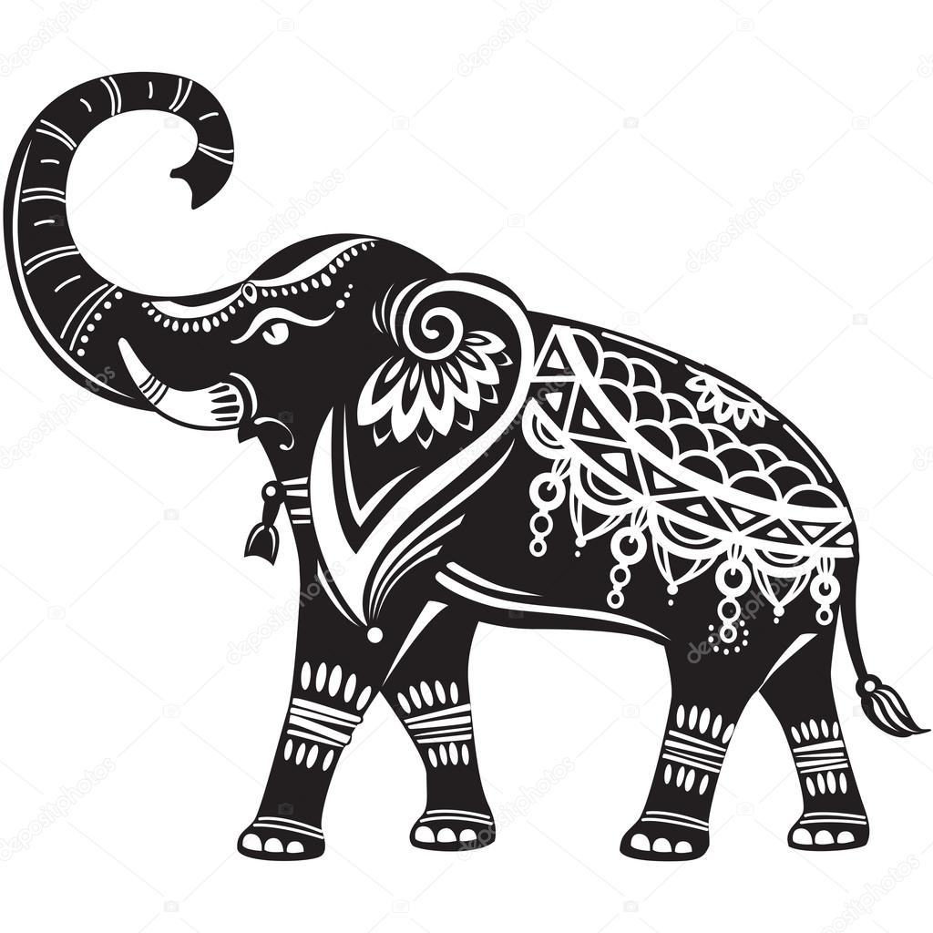 1024x1024 Huge Collection Of 'decorated Elephant Drawing' Download More