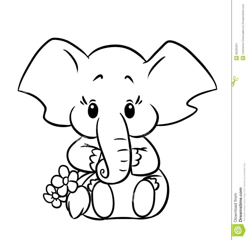1024x990 Cute Baby Elephant Drawing