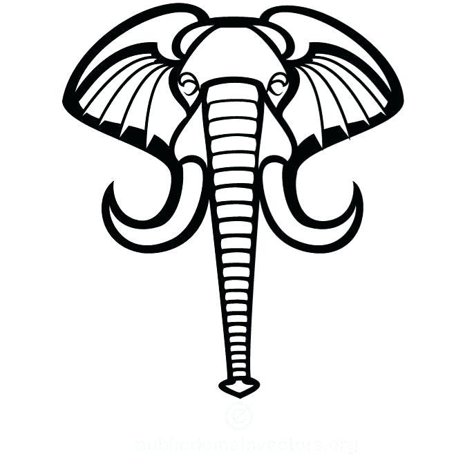660x660 Elephant Face Outline Cartoon Outline Elephant Clip Art Free