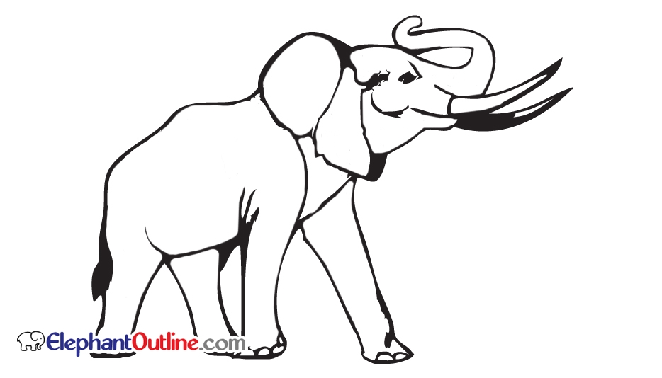 934x534 Elephant Outline Drawing Images