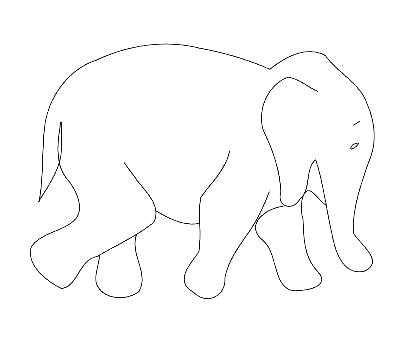 400x344 Elephant Outline Drawing