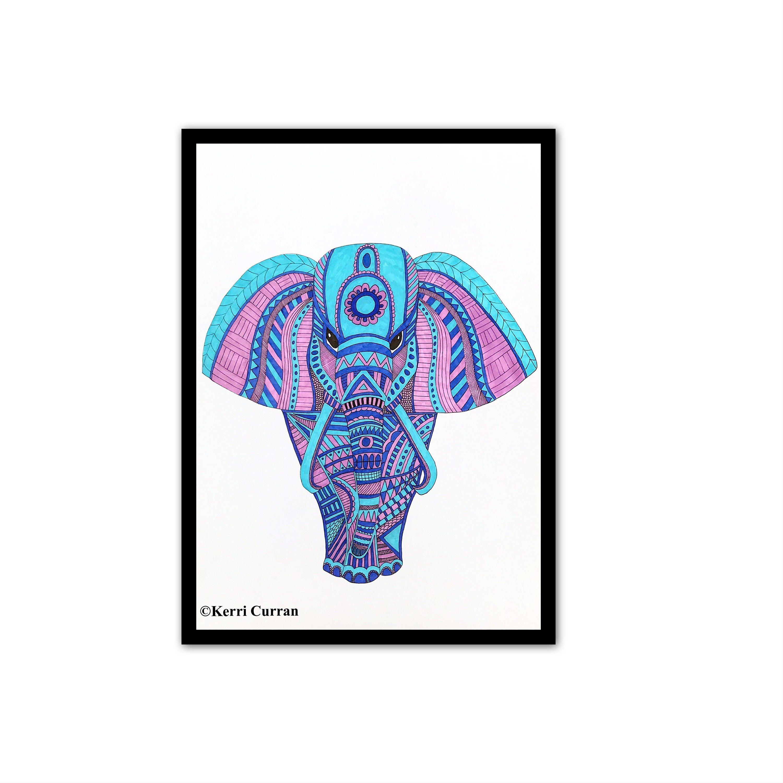 3000x3000 Elephant Art Print, Mandala Elephant Wall Art, Blue And Purple