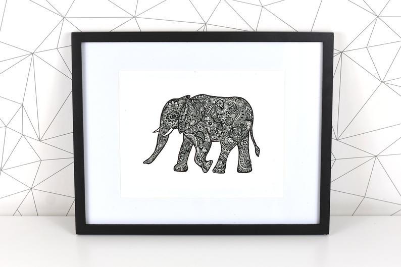 794x529 Elephant Mandala Giclee Fine Art Print Elephant Art Print Etsy