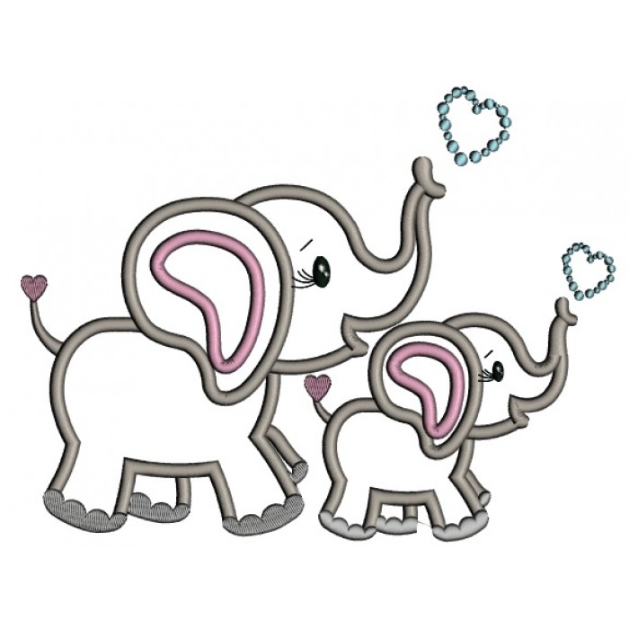 700x700 Two Cute Elephants With Hearts Applique Machine Embroidery Design