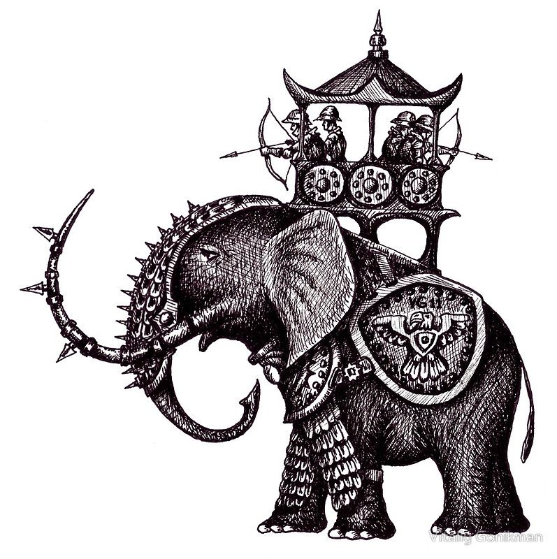 797x800 War Elephant Black And White Pen Ink Drawing Photographic Print