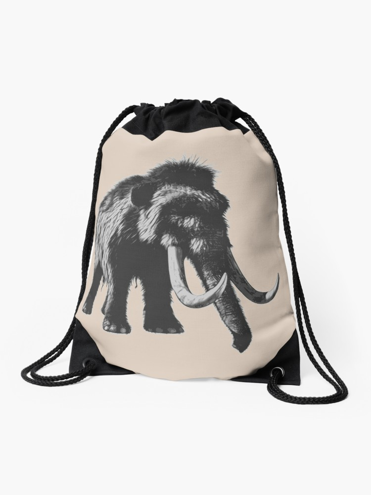 750x1000 Woolly Mammoth Pen Drawing Design In Shades Of Gray Drawstring