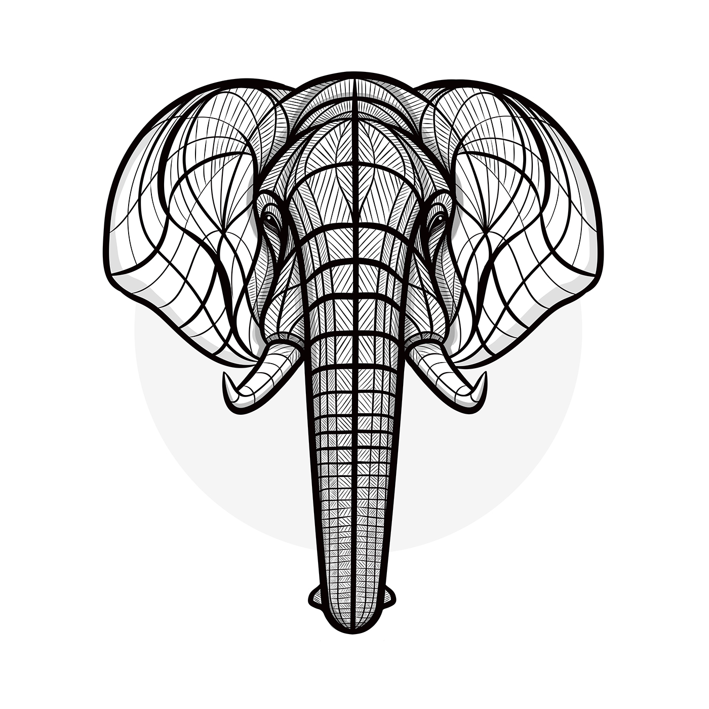1400x1400 Elephant Drawing Symmetrical For Free Download