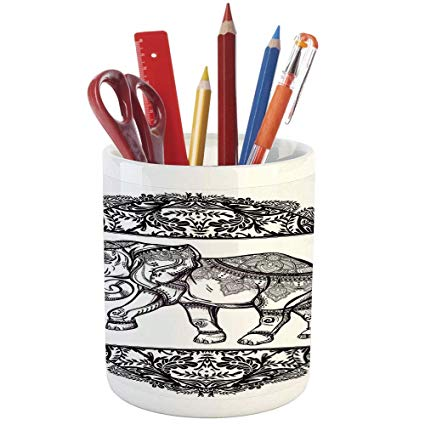425x425 Pencil Pen Holder, Elephants Decor, Printed Ceramic