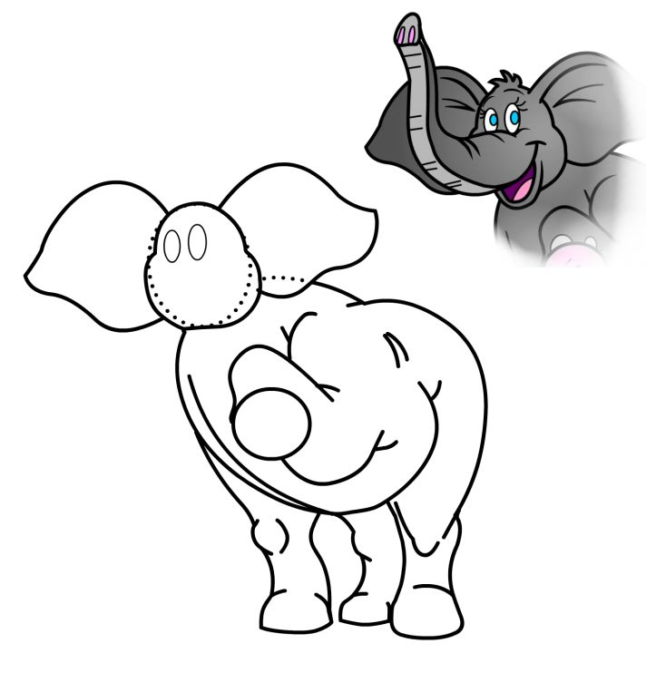 734x763 Elephant Drawing Animated For Free Download